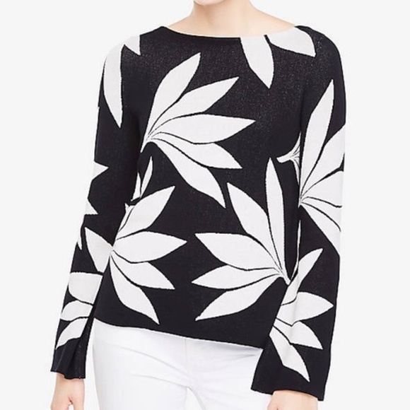 Ann Taylor - Flare Sleeve Floral Sweater